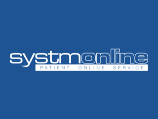 Clinical System: Systm Online - Book, request, register - blue background