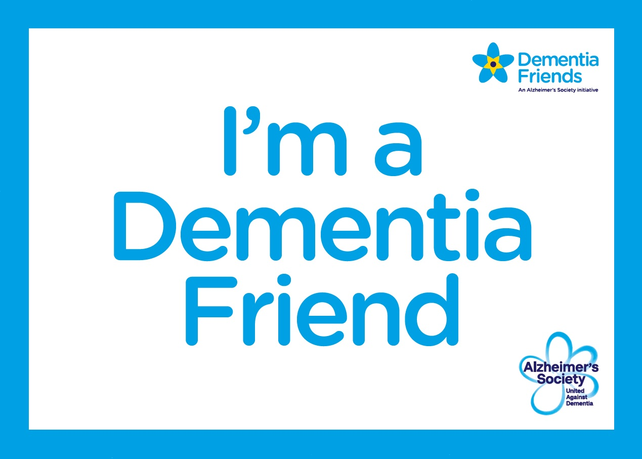 Dementia friends logo and the text 'I'm a dementia friend'